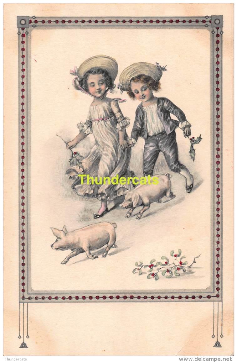CPA EDIT. TRENKLER  ENFANT COCHON CHILDREN PIG TRENKLER 2065/1 - Cochons