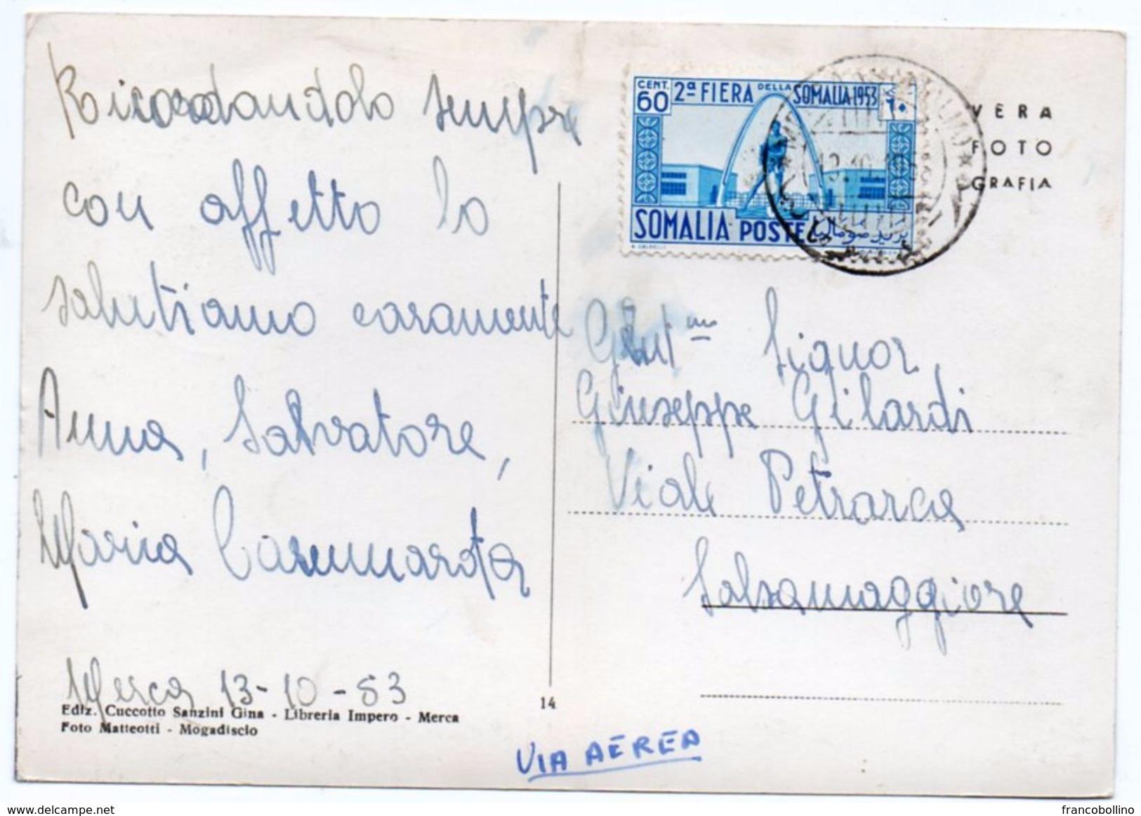 SOMALIA AFIS - GHEPARDO / IIa FIERA DELLA SOMALIA - ANNULLO MERCA 1953 - Somalia
