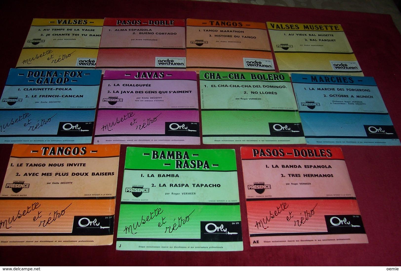 LOT DE 11 / 45 / TOURS DE MUSETTE RETRO  DISQUE RESERVE POUR LES PROFESSIONNELS  / EMILE DECOTTY / ANDRE VERCHUREN / ROG - Collections Complètes