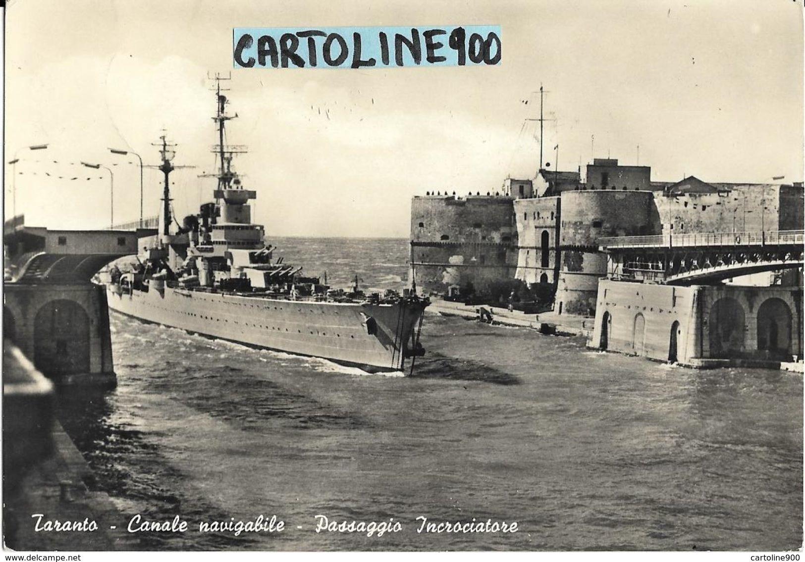 Passaggio Incrociatore Canale Navigabile Taranto Anni 50/60 - Guerra