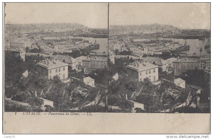 Italie - Carte Stéréoscopique - Genova - Panorama - Genova (Genoa)