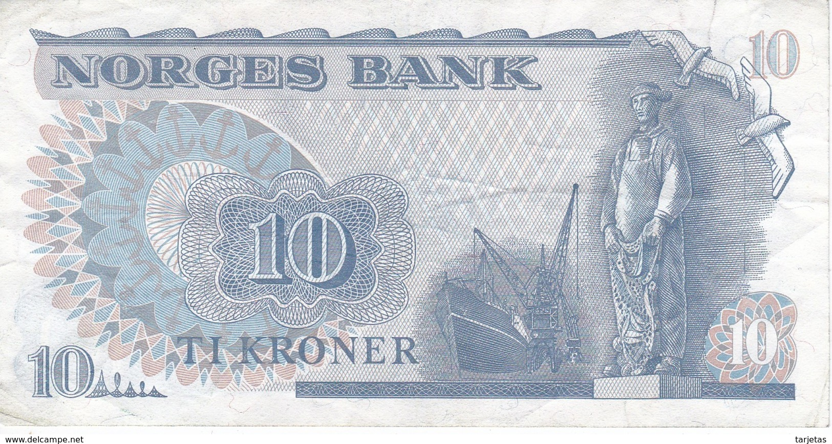 BILLETE DE NORUEGA DE 10 KRONER DEL AÑO 1979  (BANKNOTE) - Norvegia