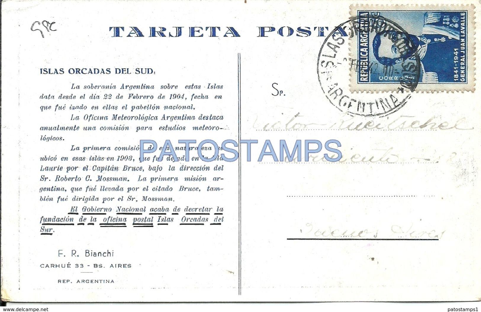 74845 ARGENTINA ART ANTARTIDA ANTARCTICA ISLAS ORCADAS DEL SUD PINGÜIN POSTAL POSTCARD - Argentinien