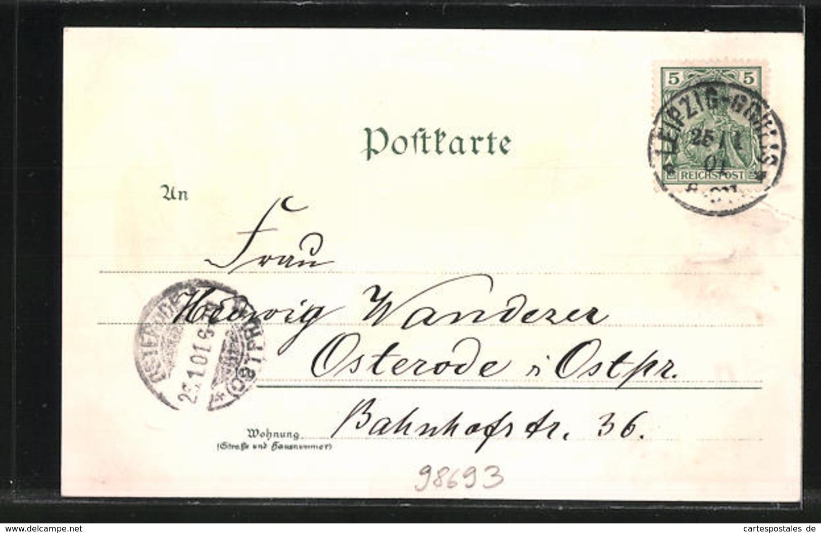 Lithographie Bad Ilmenau, Goethe Als Greis, Gabelbach-Häuschen, Turm Am Kickelhahn - Ilmenau