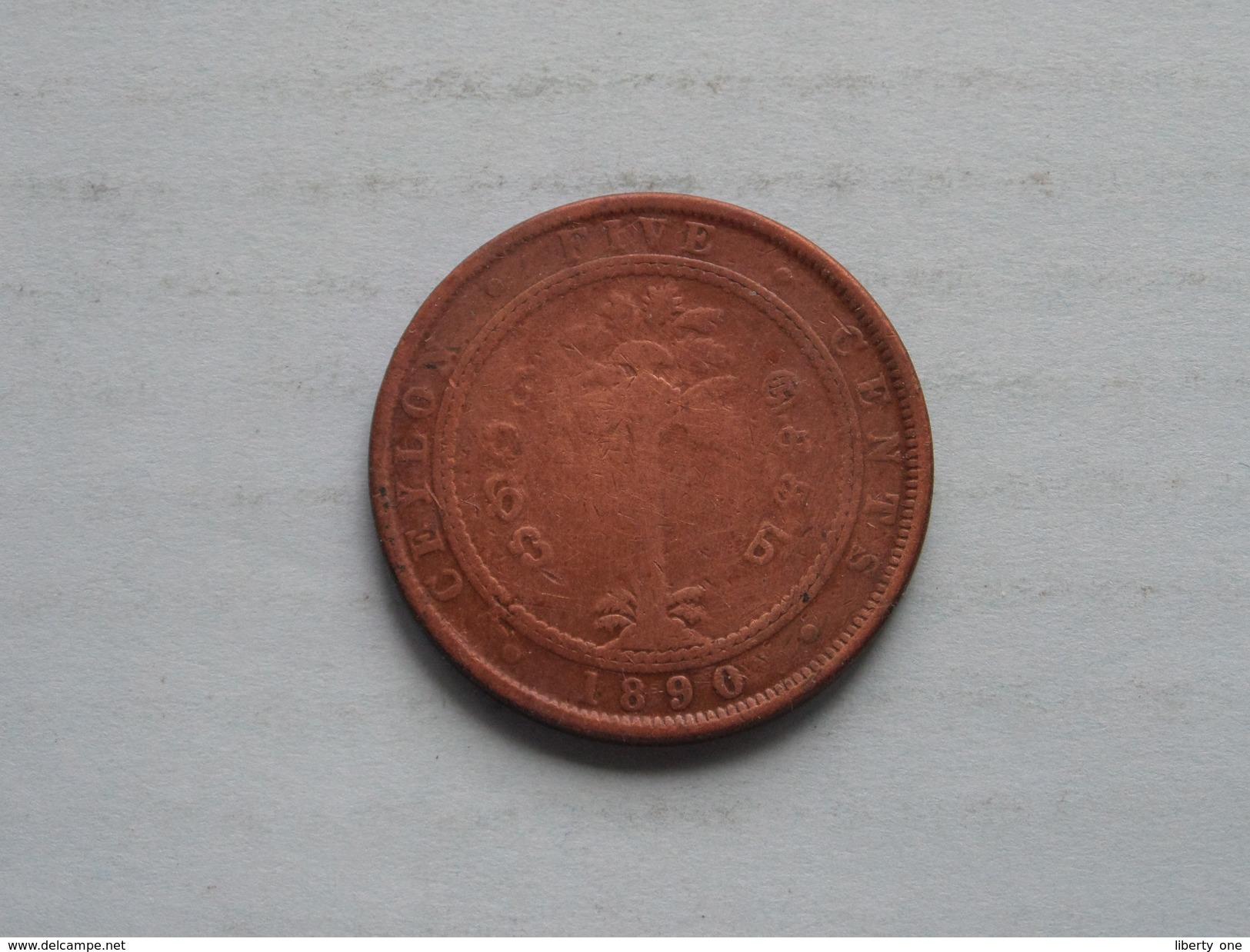 1890 - Five Cents / KM 93 ( For Grade, Please See Photo ) ! - Sri Lanka