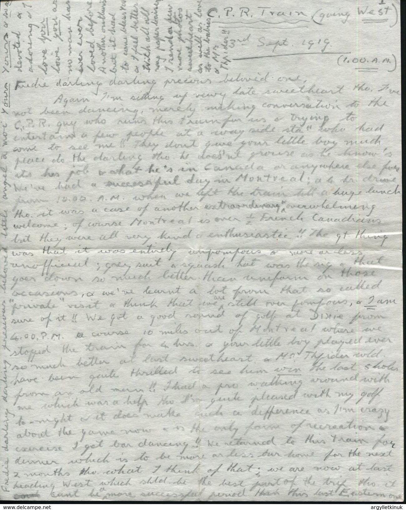 ROYALTY KING EDWARD 8TH CANADA RAILWAY WINNIPEG 1919 GOLF - Old Paper