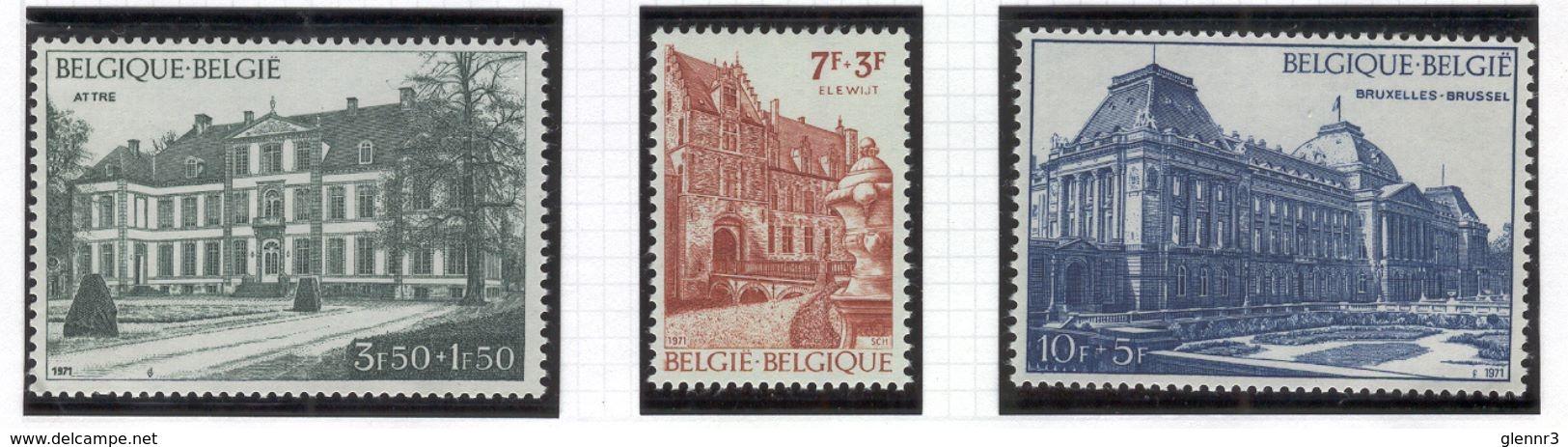 BELGIUM 1971 Palaces, Scott Catalogue No(s). B876-B878, MNH - Belgium