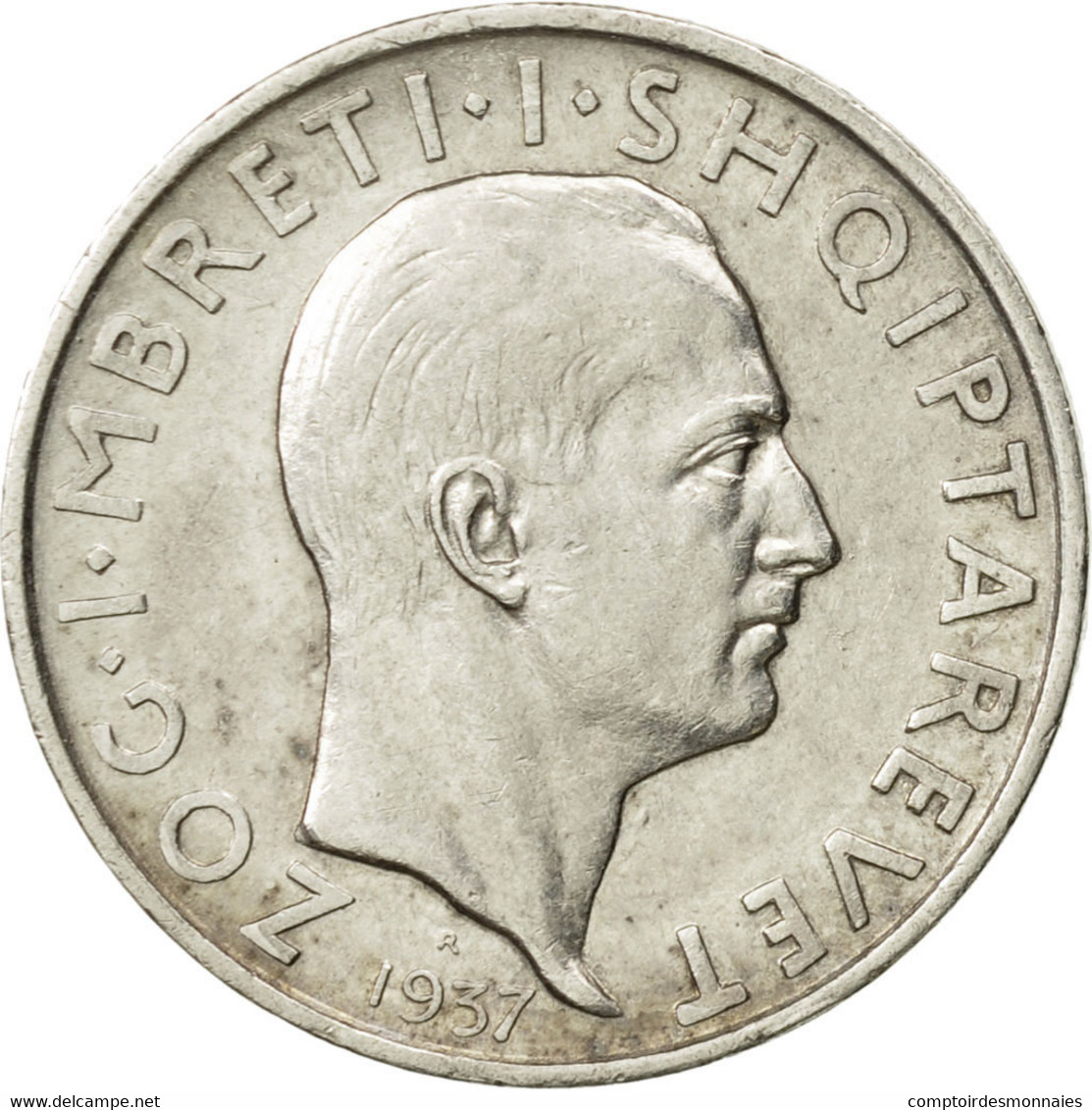 Albania, Zog I, Frang Ar, 1937, Rome, TTB+, Argent, KM:16 - Albanie