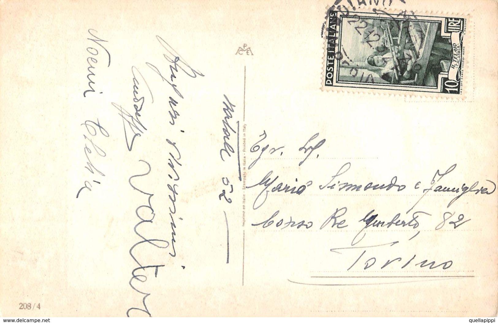 """D6170  """"BUON NATALE - BAMBINI CHE SUONANO CORNAMUSA - AGNELLINO - STELLA COMETA - PAESAGGIO CON NEVE""""  CART  SPED 1952 - Altri"""
