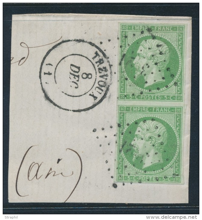 N°12 - Paire Vertic. - Obl. PC De TREVOUX + T15 - TB - 1853-1860 Napoleon III