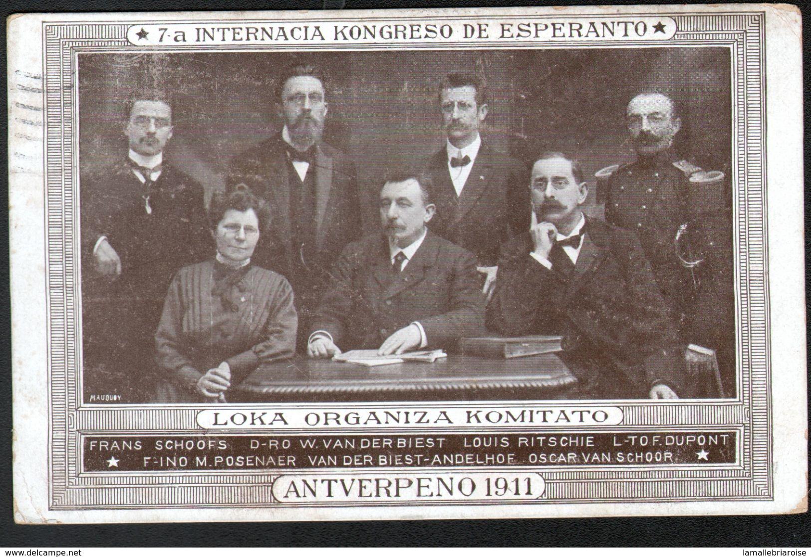 ESPERANTISME, ANTVERPENO 1911, CARTE ECRITE PAR MARIA POSENAER (cachet Au Verso) - Esperanto