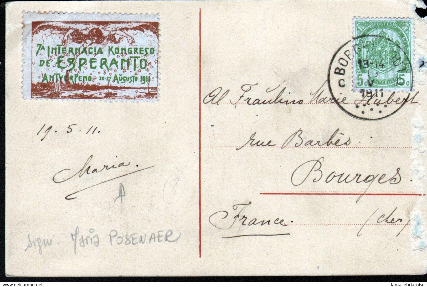 ESPERANTISME, CARTE ECRITE PAR MARIA POSENAER (signature Au Verso), Vignette , érinophilie - Esperanto
