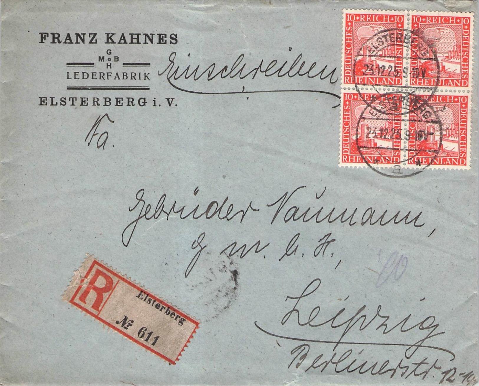 DEUTSCHES REICH - RECO 1925 ELSTERBERG -> LEIPZIG Mi #373 - Briefe U. Dokumente