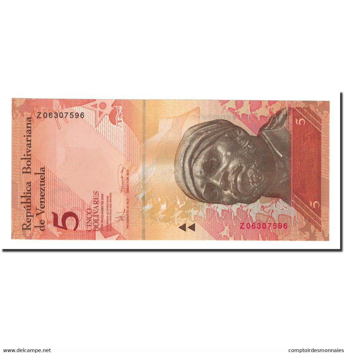Venezuela, 5 Bolivares, 2007-2012, 2008-12-19, KM:89c, NEUF - Venezuela