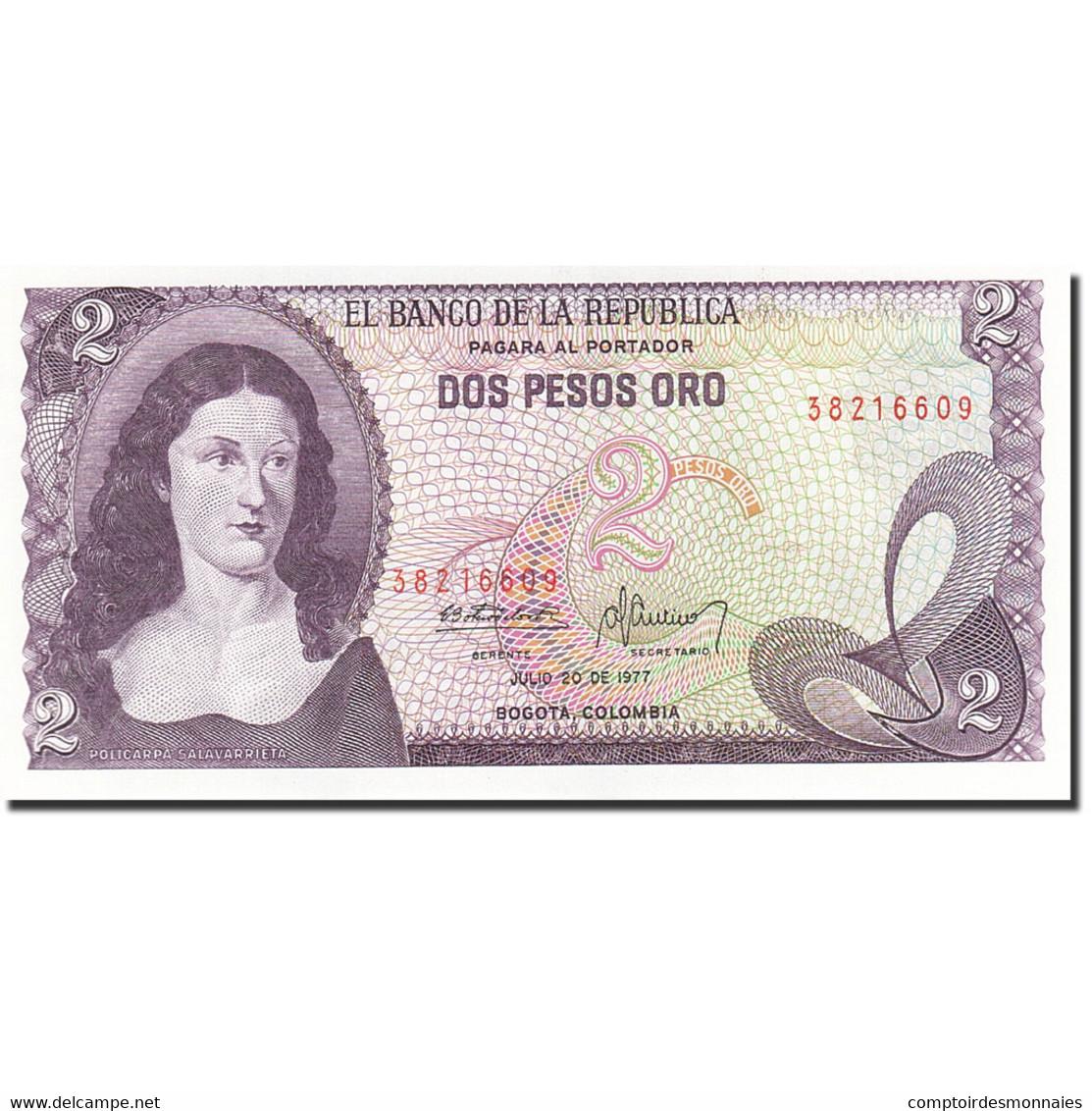 Colombie, 2 Pesos Oro, 1972-1973, 1977-07-20, KM:413b, NEUF - Colombie