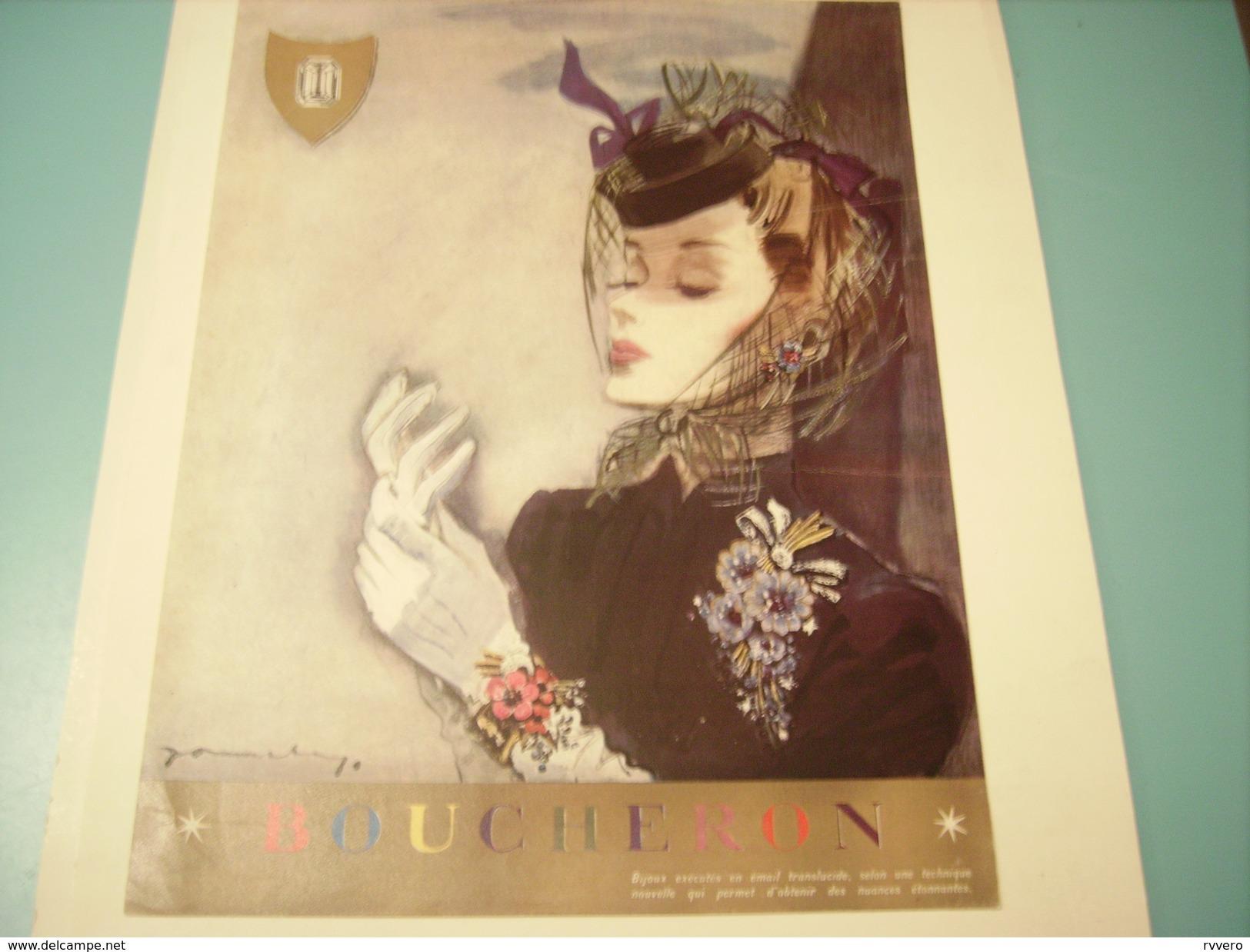 ANCIENNE PUBLICITE BOUCHERON 1941 - Bijoux & Horlogerie