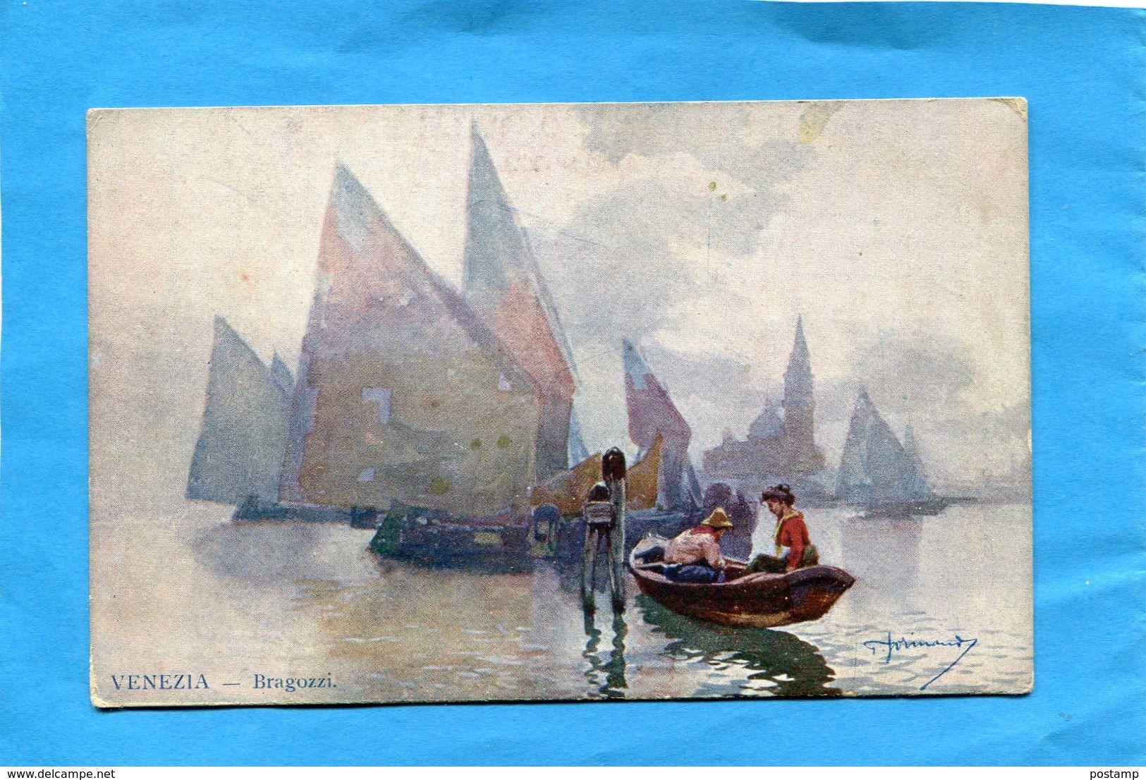 """VENEZIA-Bragozzi-barque De Pêcheurs Et Bateaux-édition """"Tecnografica"""" Années 1900-10 - Illustrateurs & Photographes"""