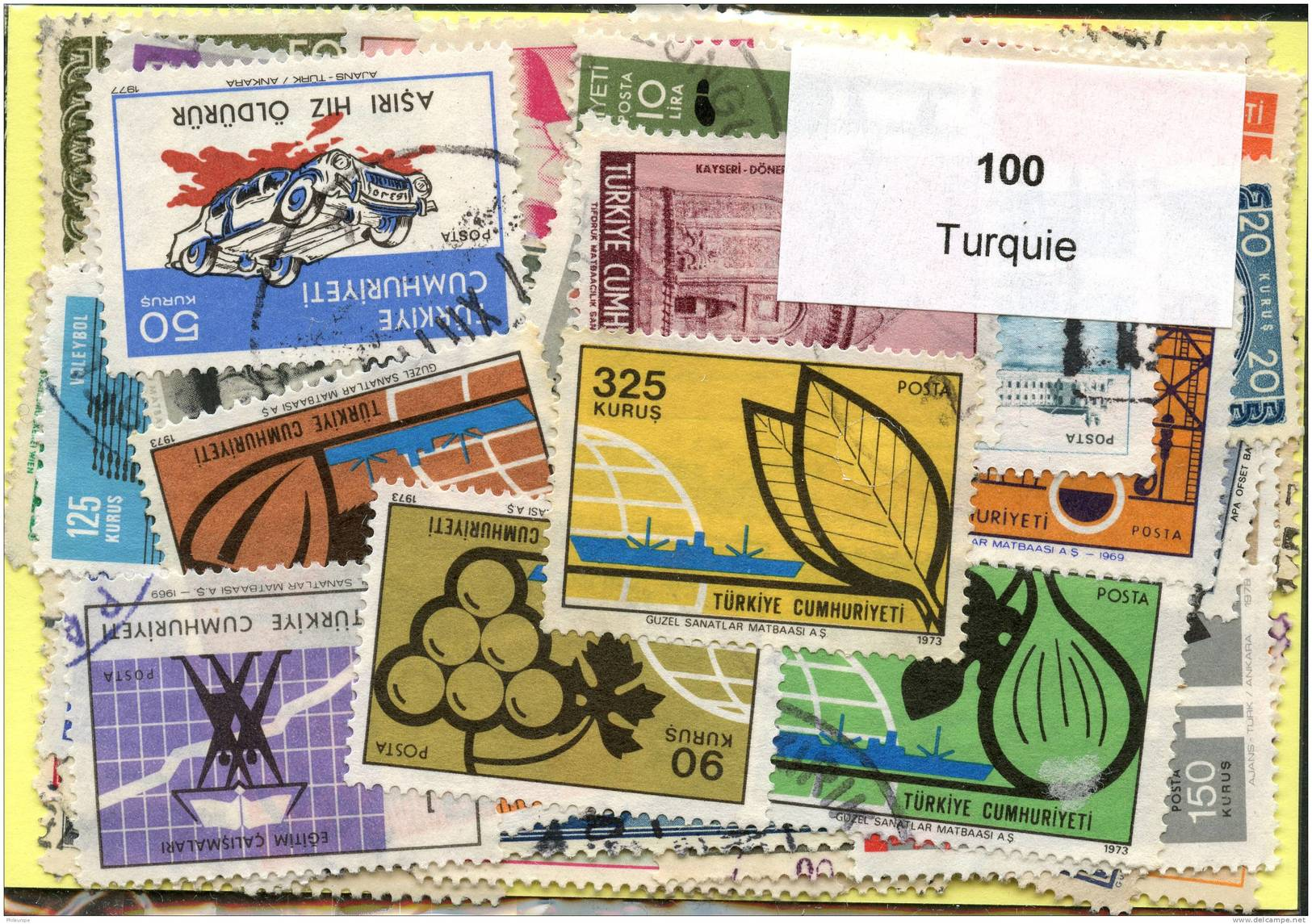 Lot 100 Timbres Turquie - Timbres