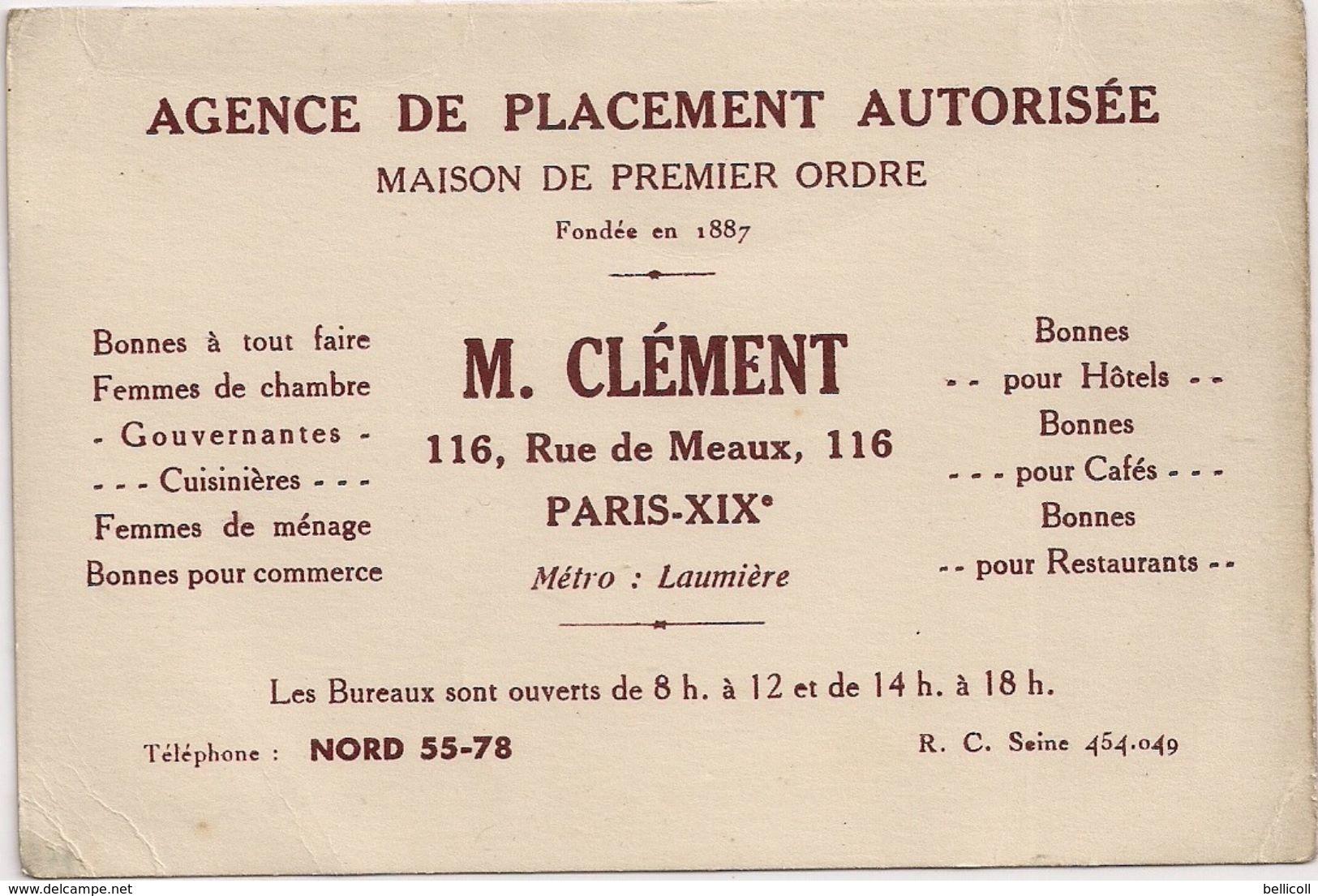 Agence De Placement Autorisée  M. Clément  Paris XIXè  ( Offres D'emploi Employées De Maison, Femmes De Ménage, Bonnes ) - Cartoncini Da Visita