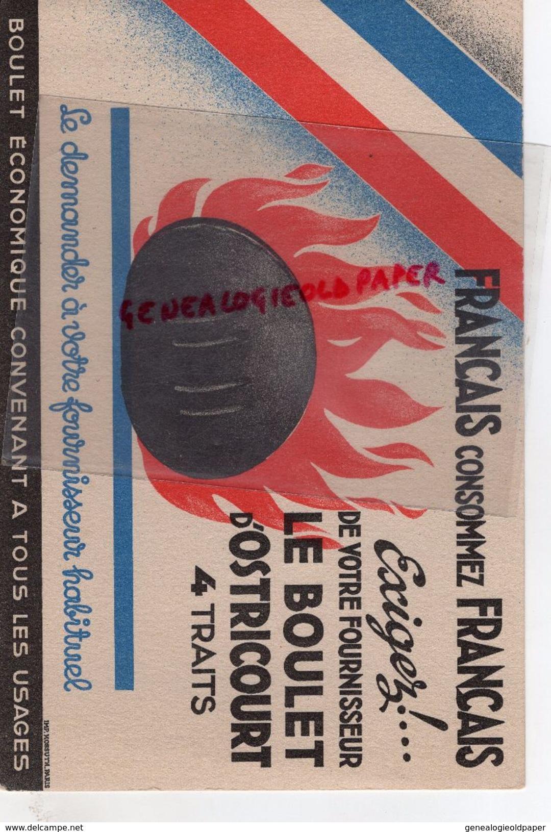 59 - OSTRICOURT- RARE BUVARD FRANCAIS CONCOMMEZ FRANCAIS-LE BOULET CHARBON- IMPRIMERIE KOSSUTH PARIS - Buvards, Protège-cahiers Illustrés