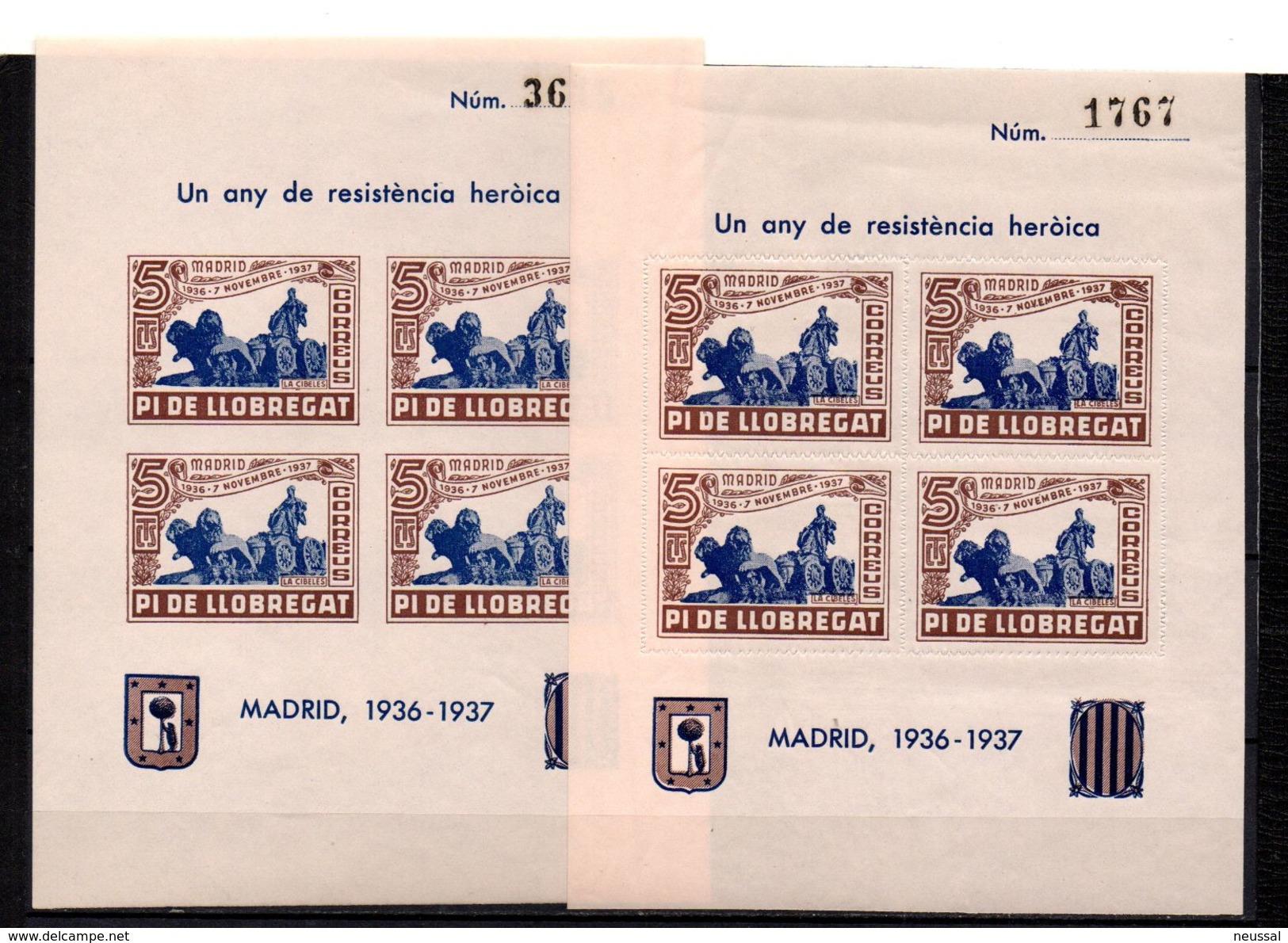 2Hb-viñetas La Cibeles  Dentado Y  Sin Dentar  Pi De Llobregat. Marron Y Azul. - Vignettes De La Guerre Civile