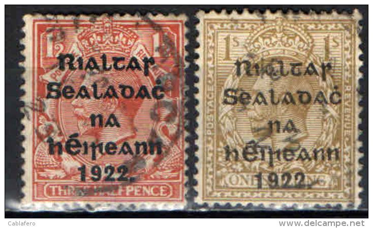 "IRLANDA - 1922 - EFFIGIE DI GIORGIO V CON SOVRASTAMPA - ""GOVERNO PROVVISORIO D'IRLANDA"" - USATI - Usati"