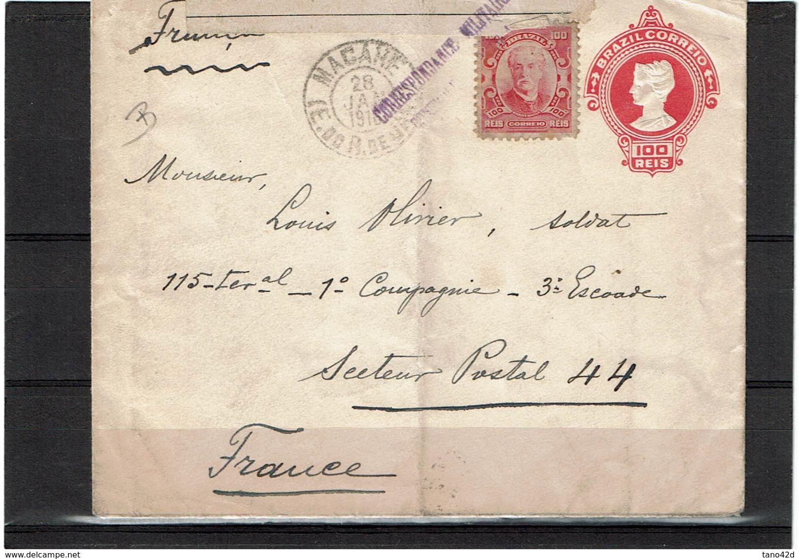 BRESIL EP ENVELOPPE  CIRCULEE JANVIER 1916 CACHET CORRESPONDANCE MILITAIRE + CENSURE FRANCAISE - Entiers Postaux