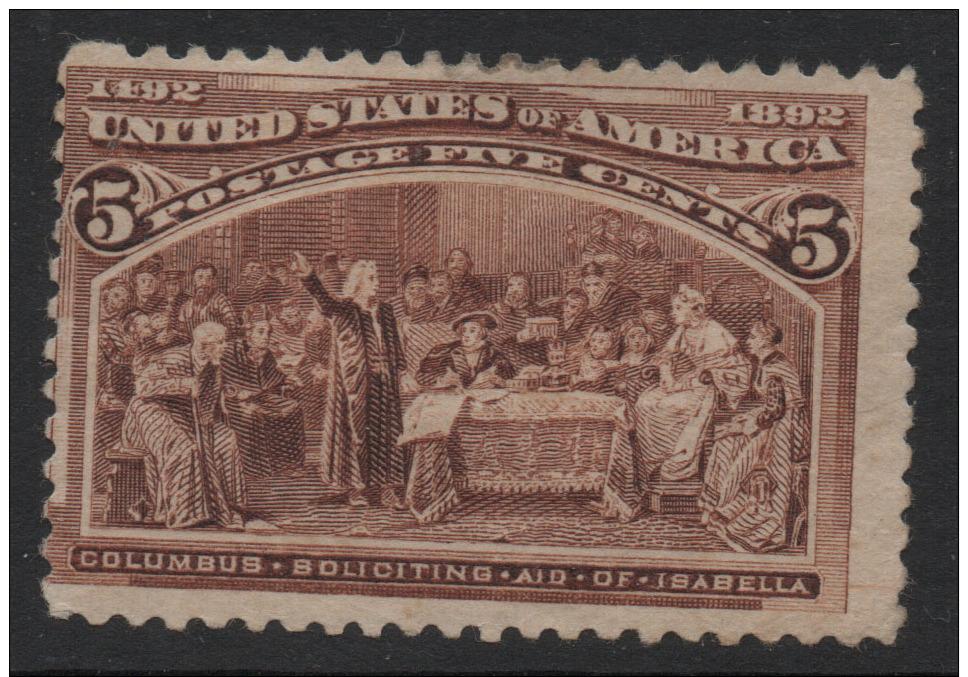 US 1893 Columbian Expo Sc234 5c Chocolate Stamp CV$60. Unused Hinged Gum Disturbed F - 1847-99 General Issues