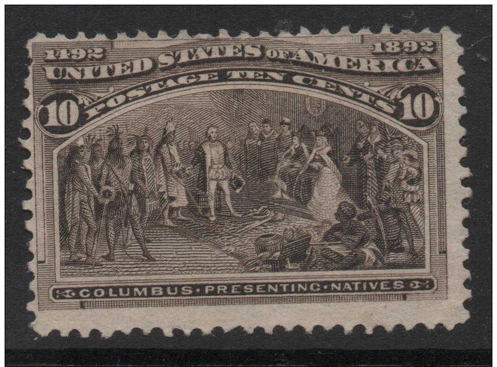 US 1893 Columbian Expo Sc237 10c Black Stamp CV$100. Unused Hinged No Gum  F - 1847-99 General Issues