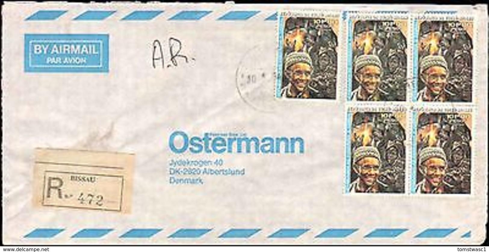 1984 GUINE-BISSAU REGISTERED AR MULTI STAMP TO DENMARK - Stamps