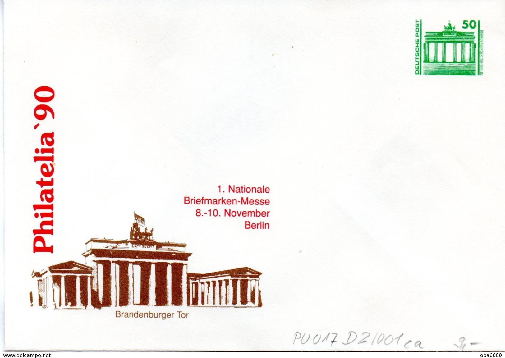 "DDR Privatganzs.-Umschlag  PU 017 D2/001ca Wz 50(Pf) ""PHILATELIA ´90 - Brandenburger Tor"", Ungebraucht - Private Covers - Mint"