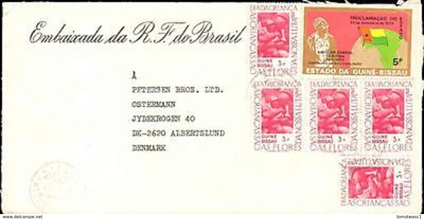 1985 GUINE-BISSAU MULTI STAMP TO DENMARK FROM BRAZIL EMBASSY - Stamps