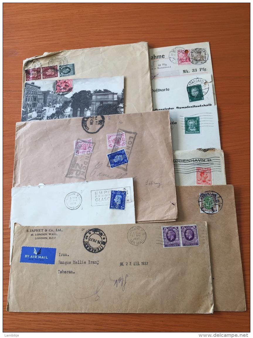 Sammlung Von 10 Briefe Und Postkarten Met Perfins Deutsches Reich/England/Danmark - Timbres