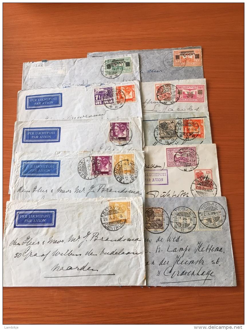 Collection/Sammlung  10 Covers Airmail Nederlands-Indië - Postzegels