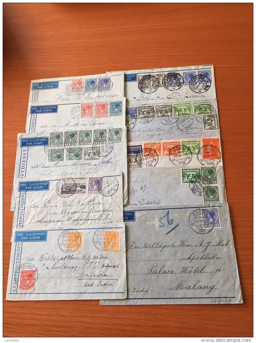 Collection/Sammlung  10 Covers Airmail Nederland Naar Nederlands-Indië - Postzegels