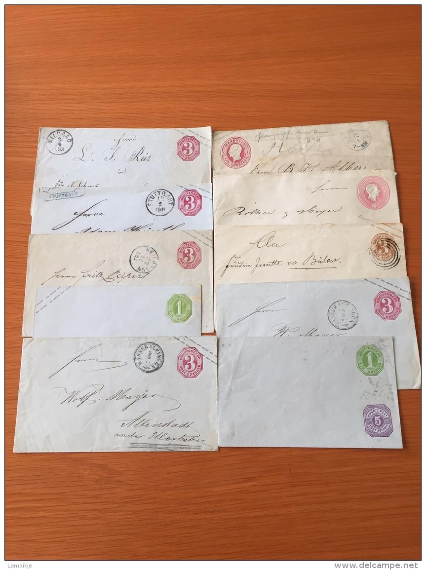 Sammlung  Von 10 Umschlage AD Wurttemberg, TunT, Hannover ... - Collections (sans Albums)