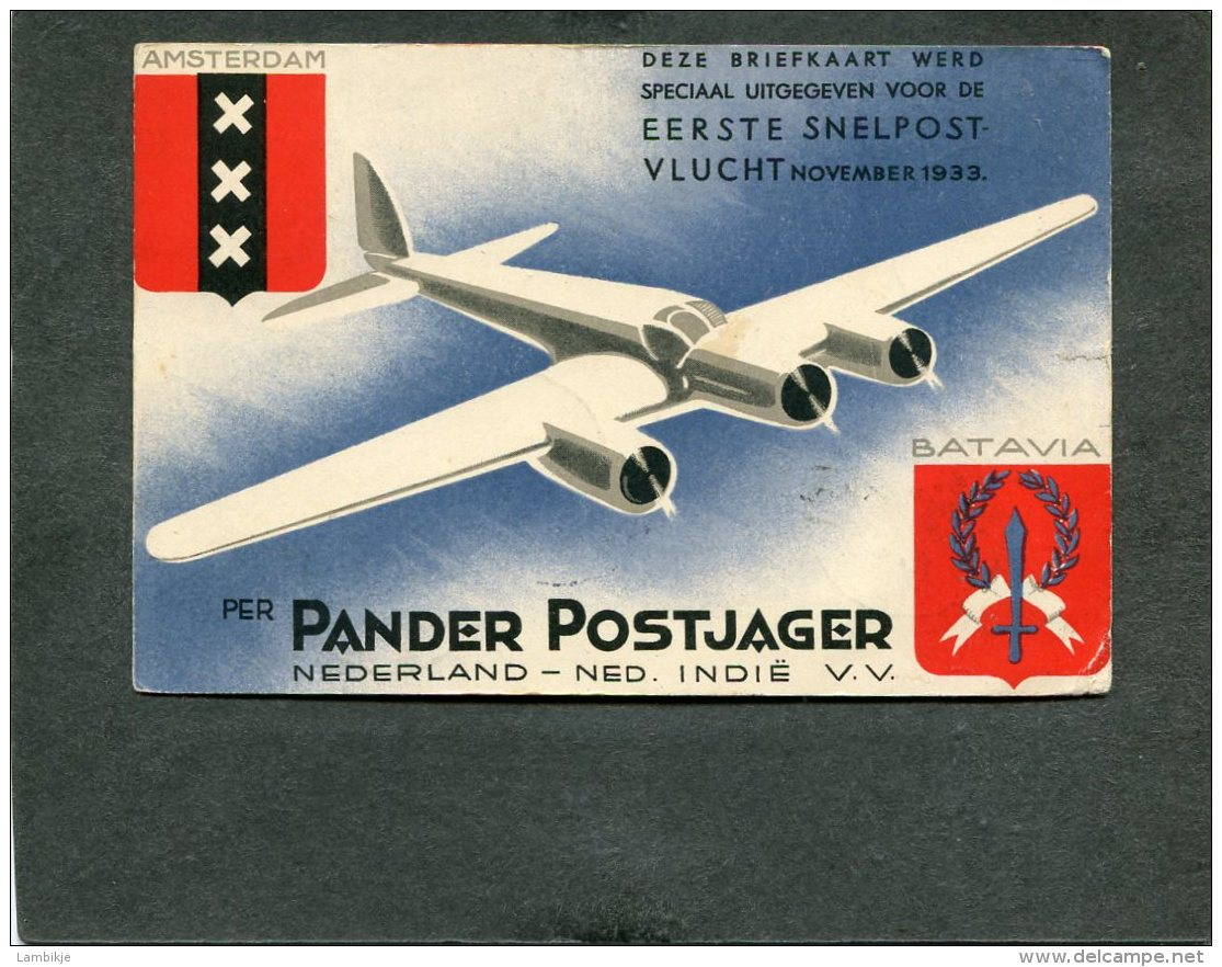Nederlands-Indië Briefkaart 1933 Panderpostjager - Brieven En Documenten