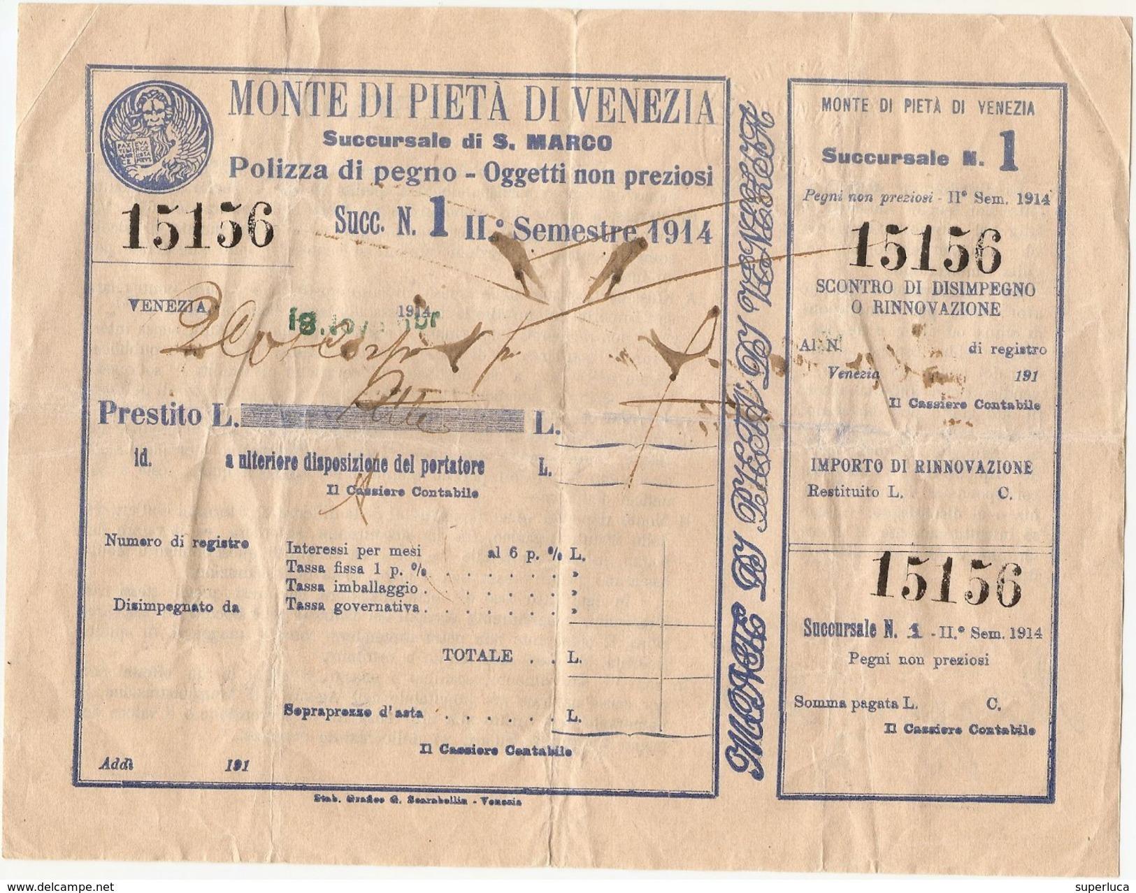 2-MONTE DI PIETA DI VENEZIA-SUCCURSALE DI S.MARCO-POLIZZA DI PEGNO 1914 - Altri