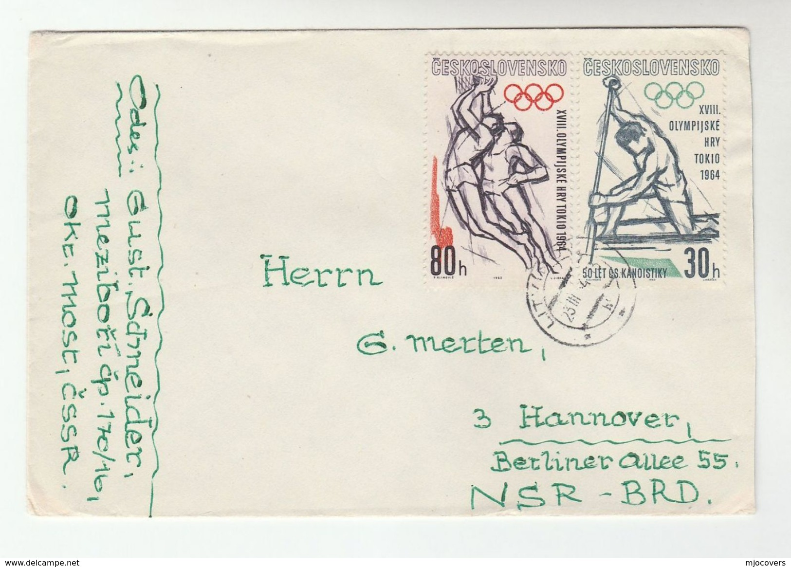 1964 CZECHOSLOVAKIA Litvinov COVER Stamps OLYMPICS BASKETBALL CANOEING  To Germany  Olympic Games Sport - Summer 1964: Tokyo