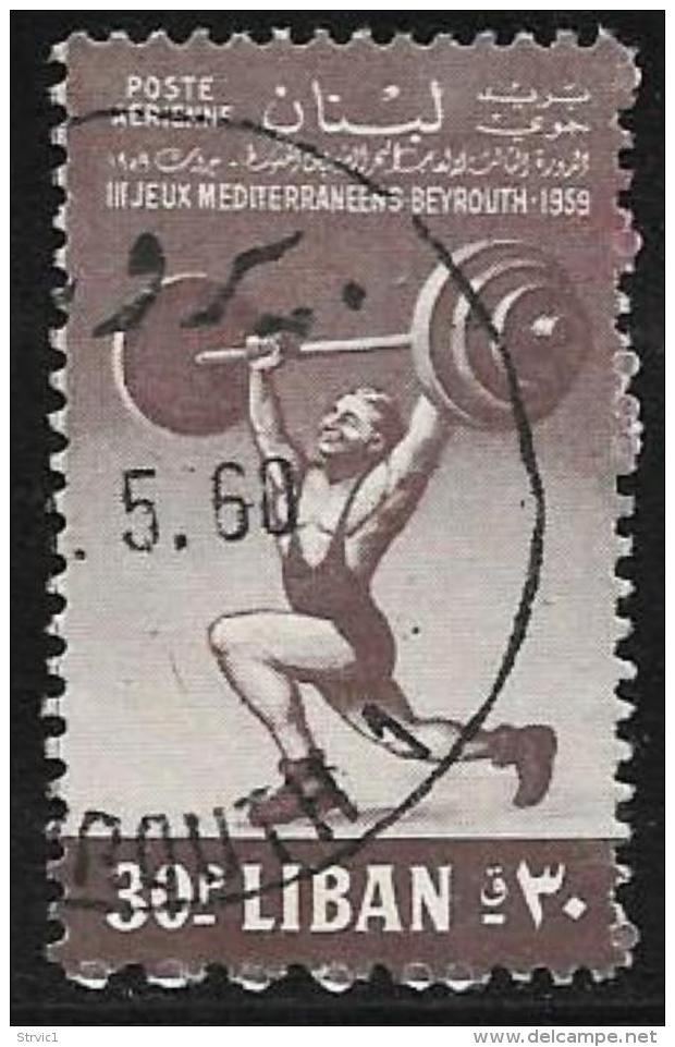 Lebanon, Scott #C267 Used Weight Lifter, 1959 - Liban