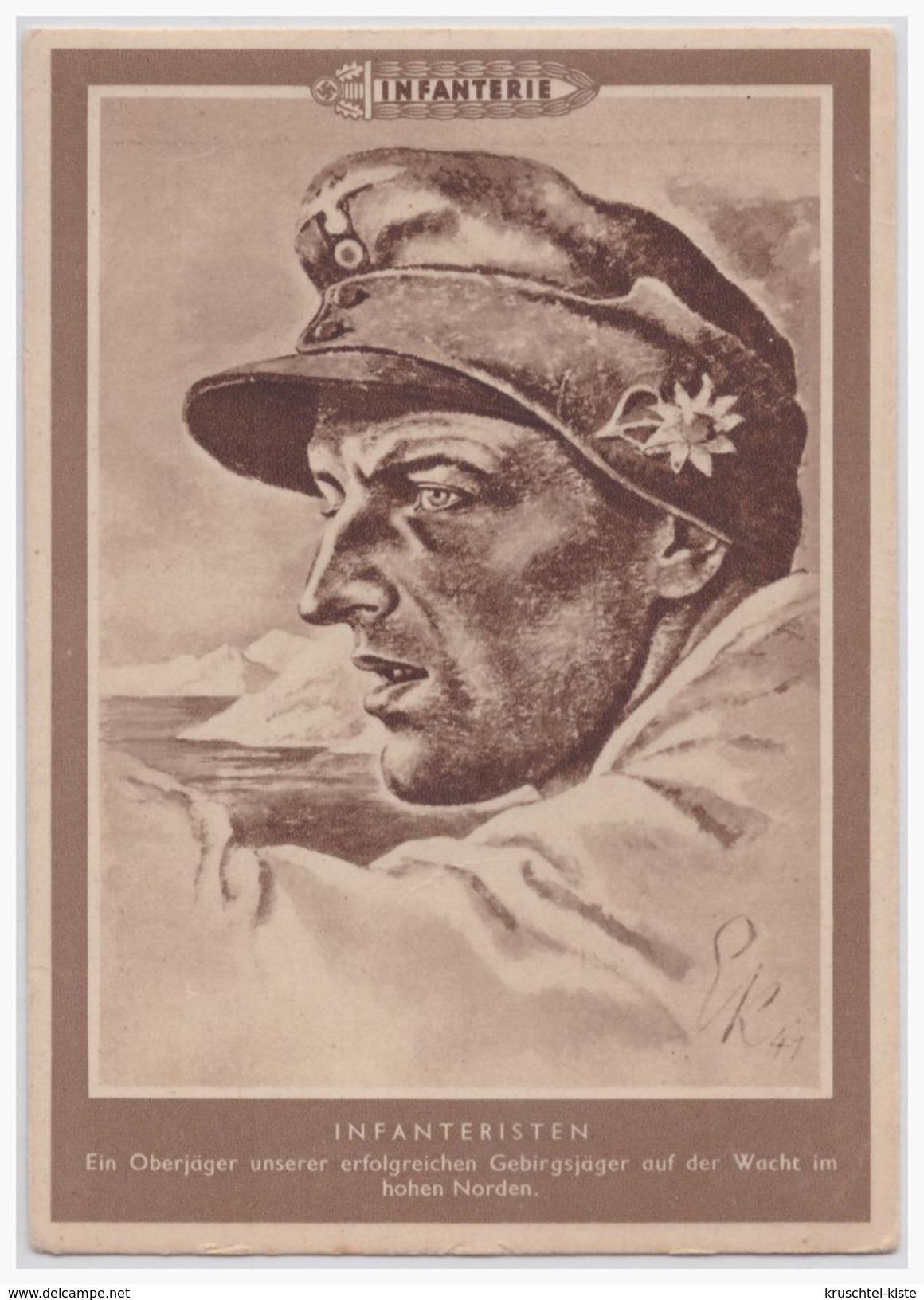 """Dt.- Reich (001560) Propagandakarte """"Infanteristen Ein Oberjäger Unserer Erfolreichen Gebirgsjäger Auf Der Wacht"""" Ungebr - Briefe U. Dokumente"""