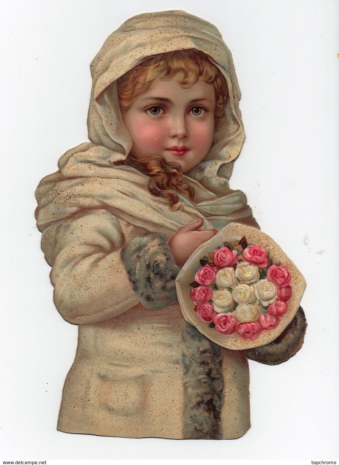 Grande CHROMO Découpis Gaufrée Enfant Fille Fillette Fleurs Roses - Enfants