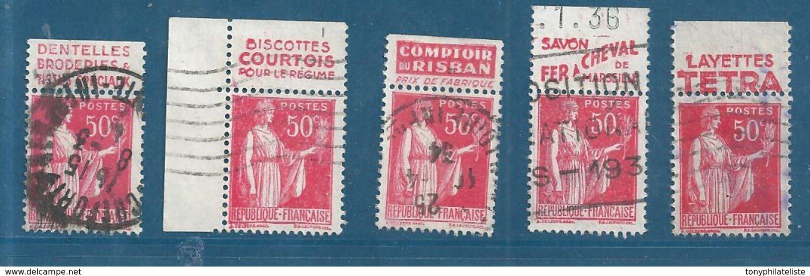 France 5 Timbres Pub De 1932/33 Du N°283 Oblitérés - 1932-39 Paix