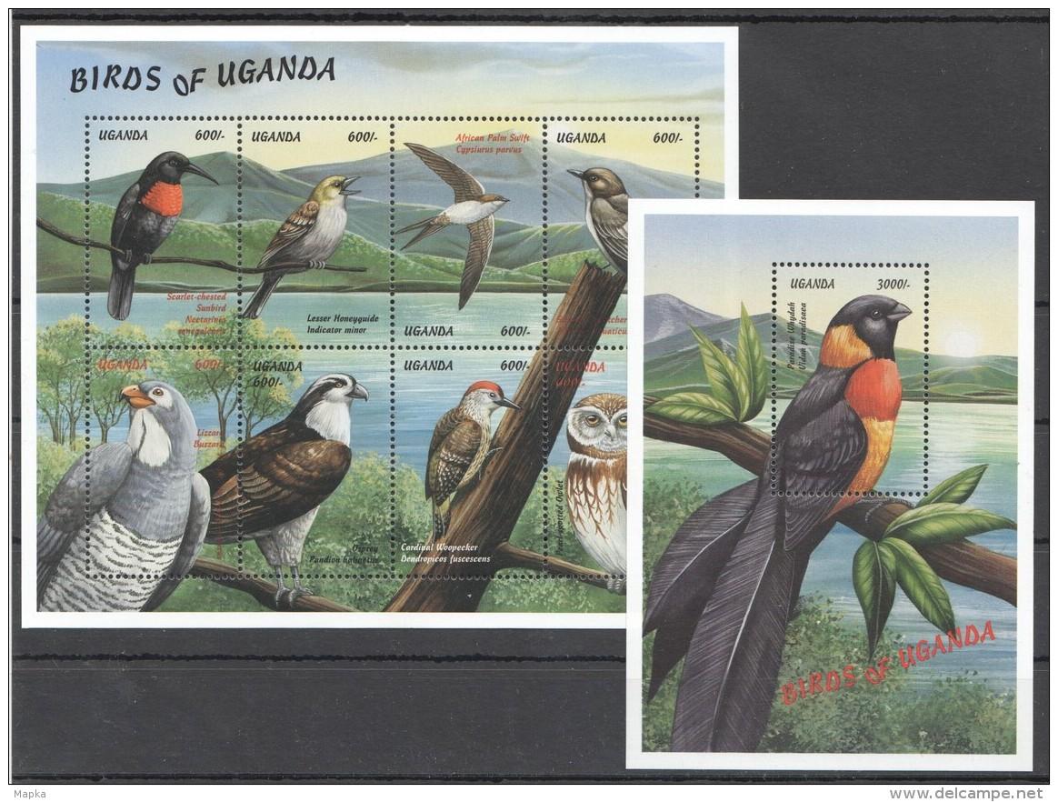 Q141 UGANDA FAUNA BIRDS OF UGANDA 1KB+1BL MNH - Águilas & Aves De Presa