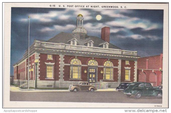 South Carolina Greenwood Post Office At Night - Greenwood