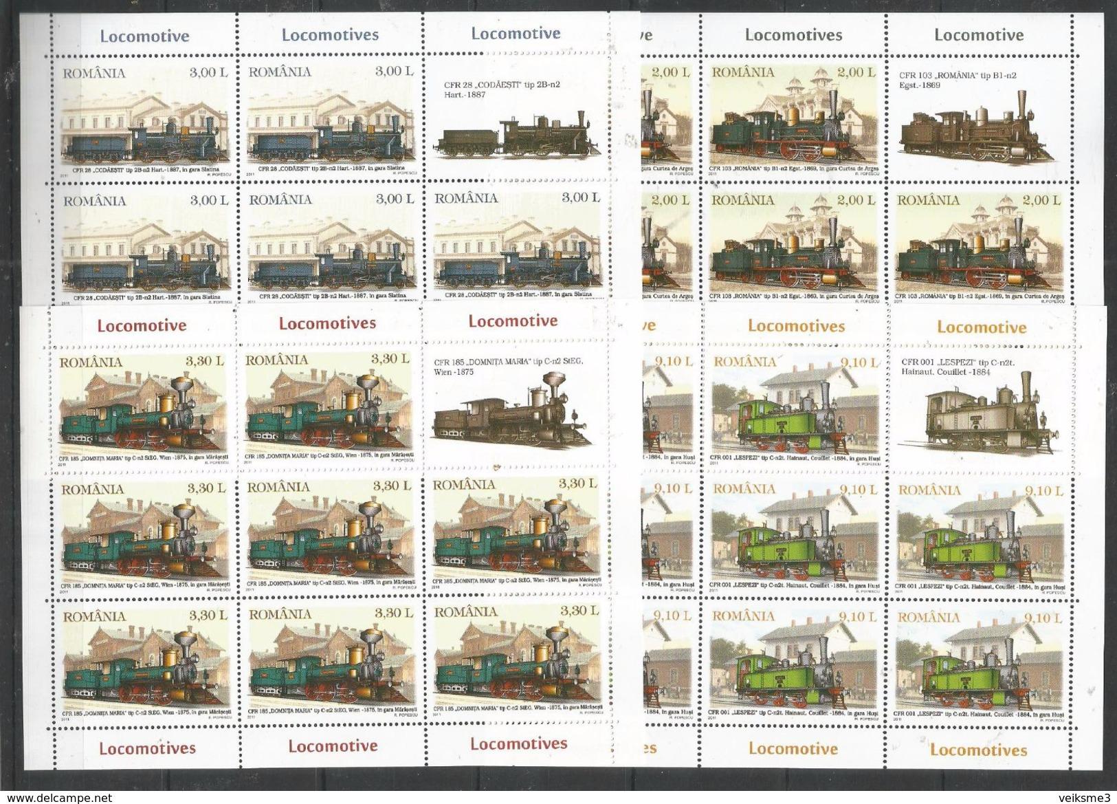 8x ROMANIA - MNH - Transport - Trains - Locomotives - Eisenbahnen