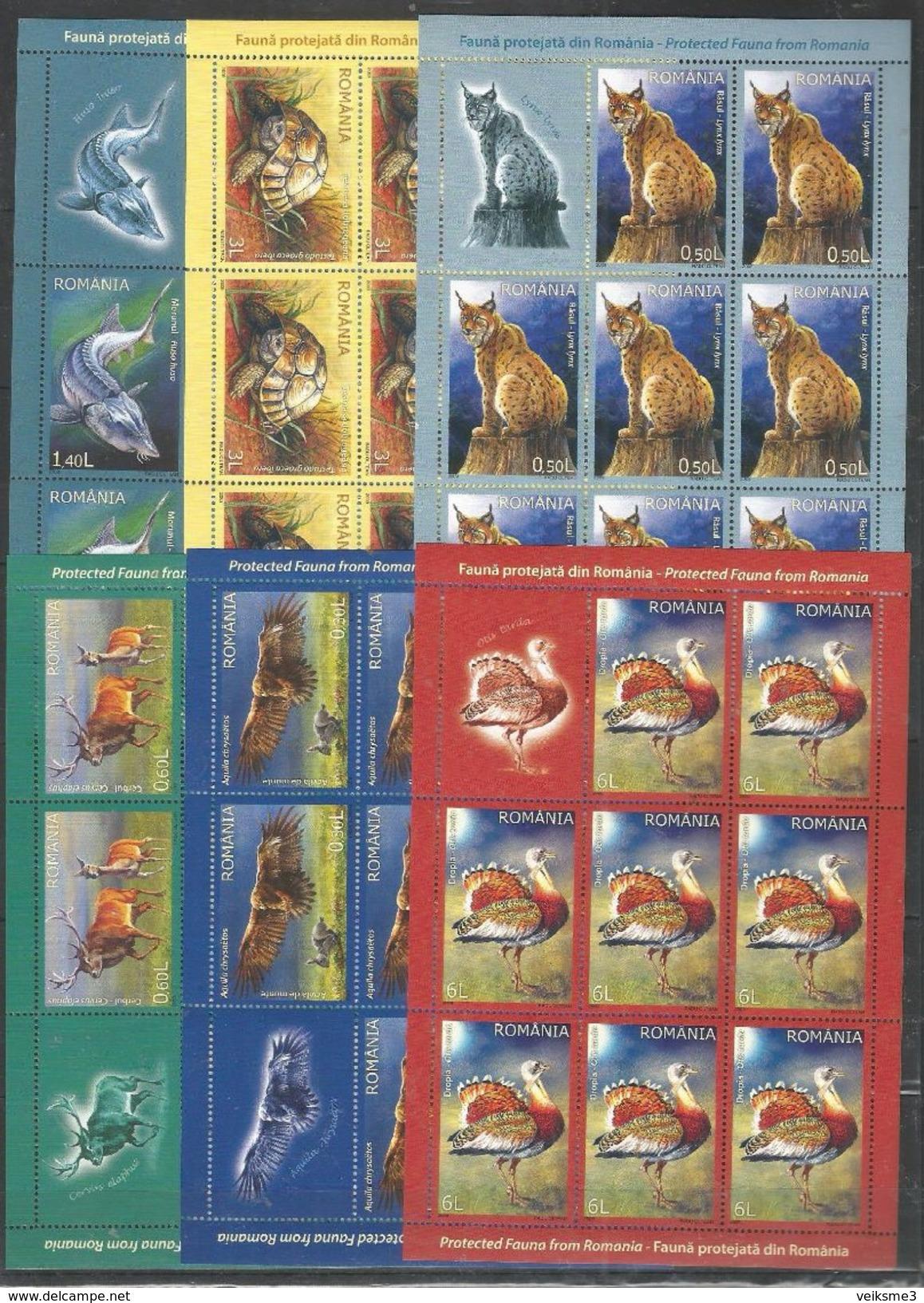8x ROMANIA - MNH - Art - Animals - Birds - Wild Animals - Fishes - Uccelli