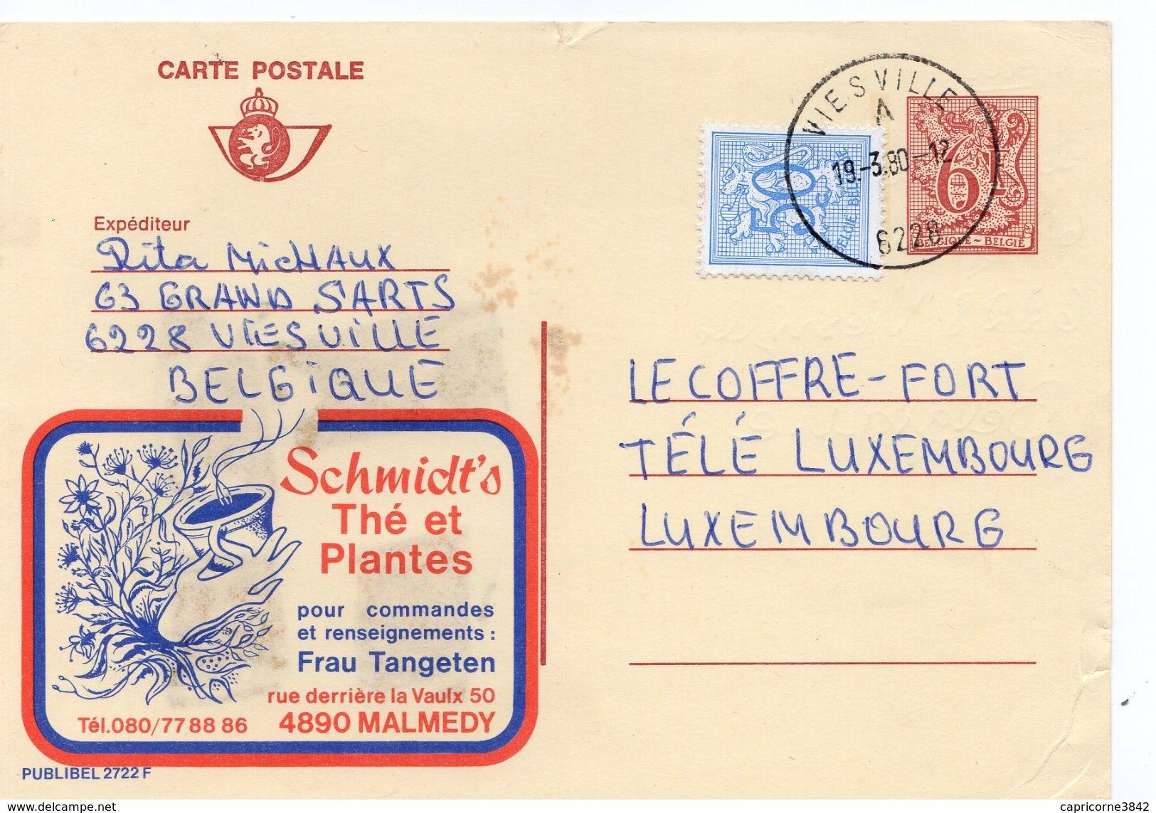 """1980 - Belgique - Publibel N°2722 Pub """"Thé Et Plantes Schmidt's"""" Tp 6fr + Complément D'affranchissement 50 Ct - Enteros Postales"""
