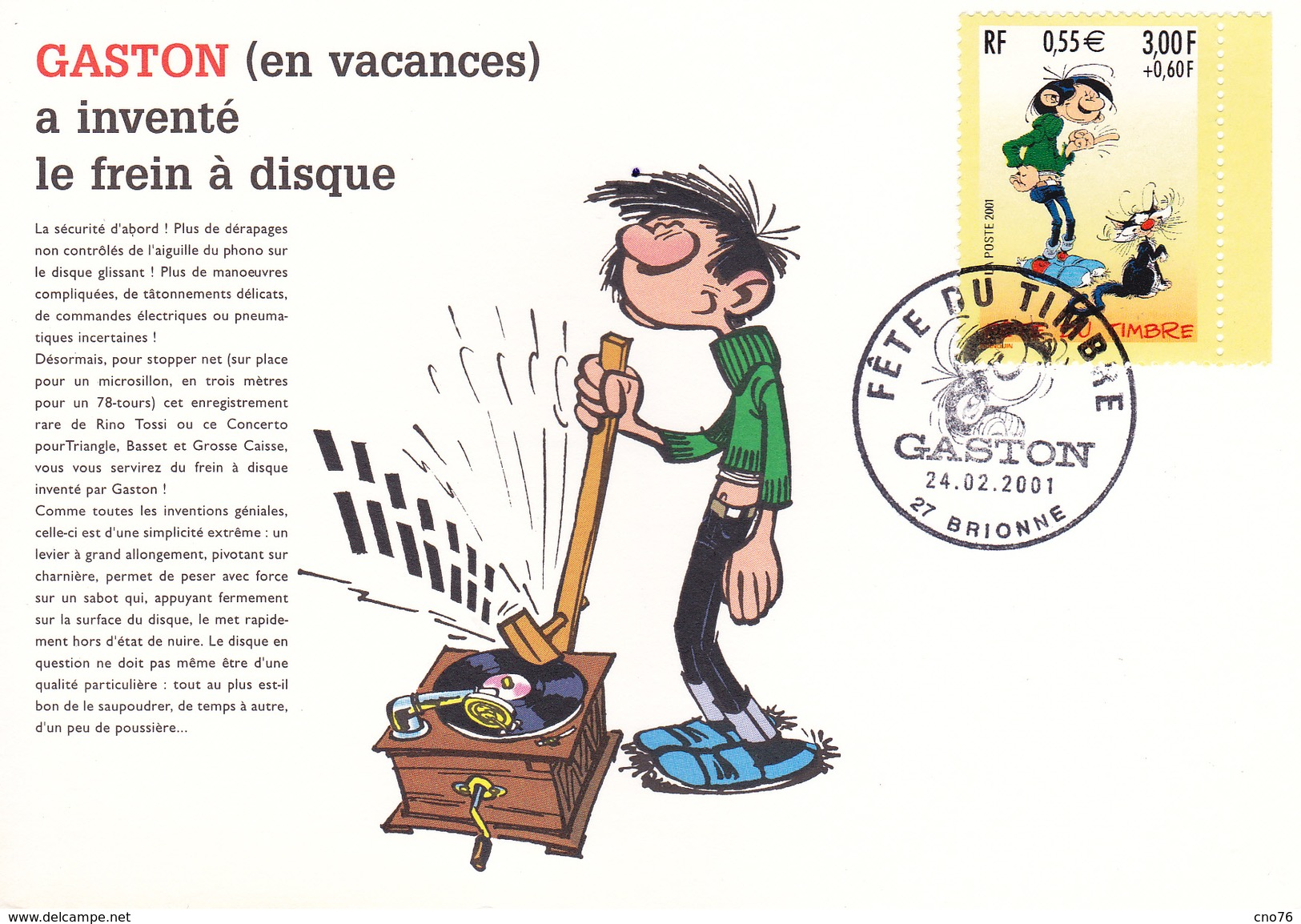 Gaston Lagaffe Fête Du Timbre 2001 Brionne 24 Février 2001 - Cartoline Maximum