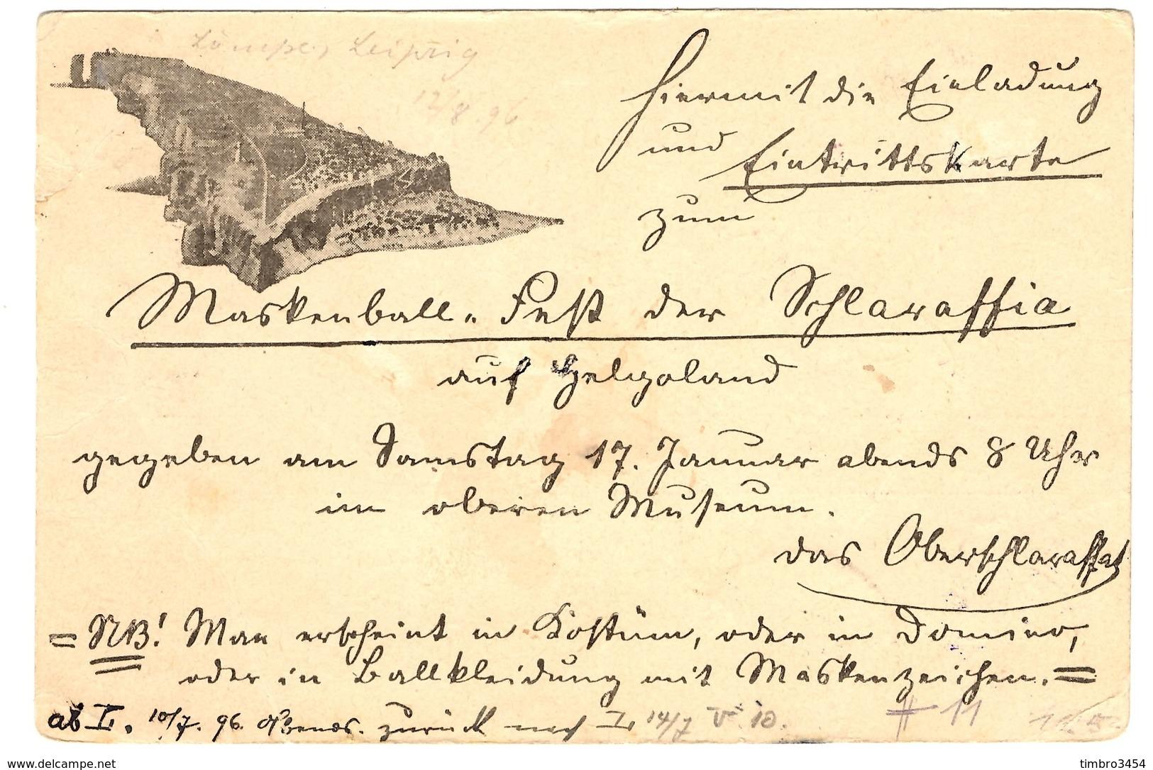 Heligoland Belle Carte De 1896. Affranchissement Mixte. RARE! B/TB. A Saisir! - Heligoland (1867-1890)